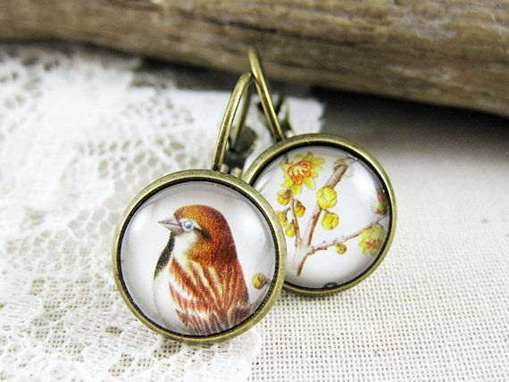 Postage Stamp Earrings / Good Morning Sparrow / San by OhThePost