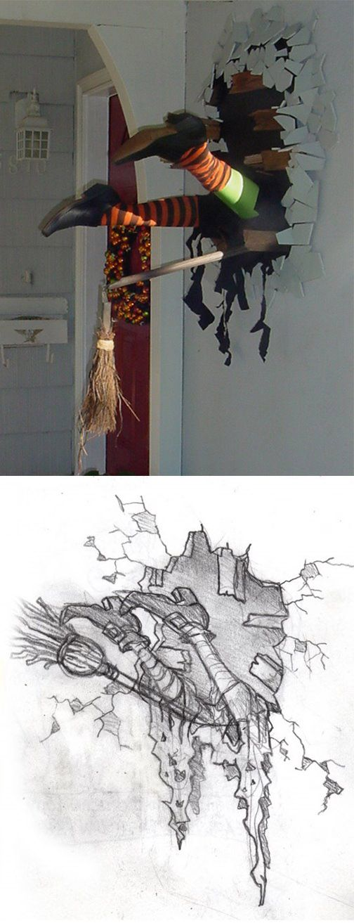 DIY Halloween decor :: Witch Crash ( http://davelowe.blogspot.com/2008/10/08-halloween-28-witch-crash.html )