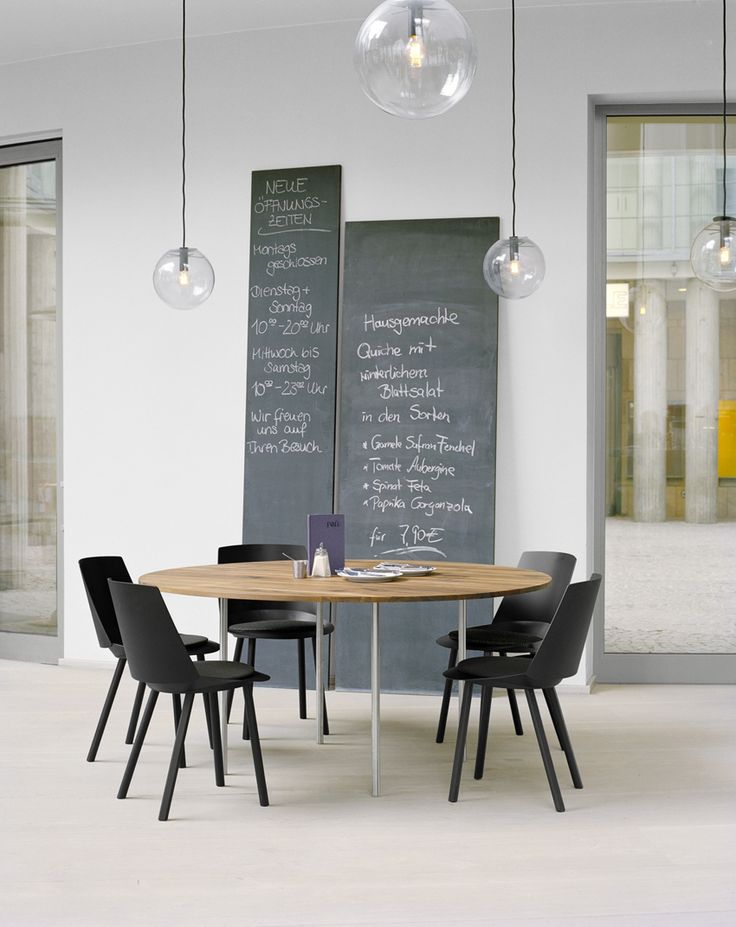 *leaning chalkboard, philipp mainzer, E15 table, solid walnut