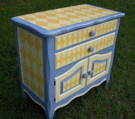 Handpainted Furniture Cabinet/Buffet in Periwinkle by HeatherMBC