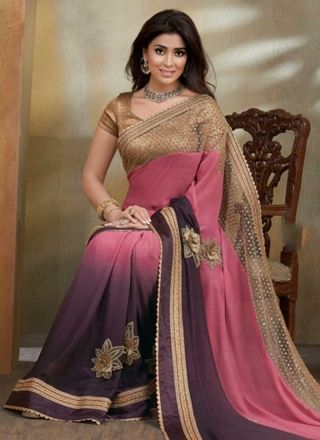 Shriya Saran Multi Color Shaded Net Zari Work Patch Botta Party  Wear Designer Sarees http://www.angelnx.com/Sarees/Bollywood-Sarees#/sort=p.sort_order/order=ASC/limit=32/page=3