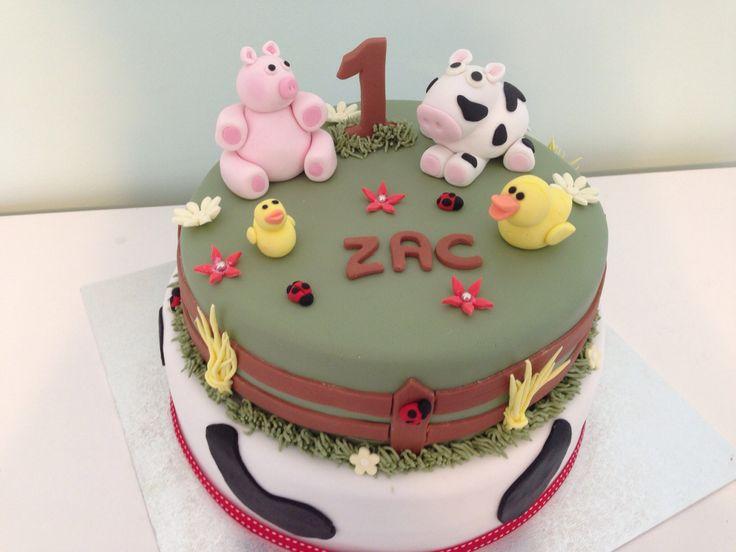 First birthday farm yard theme cake