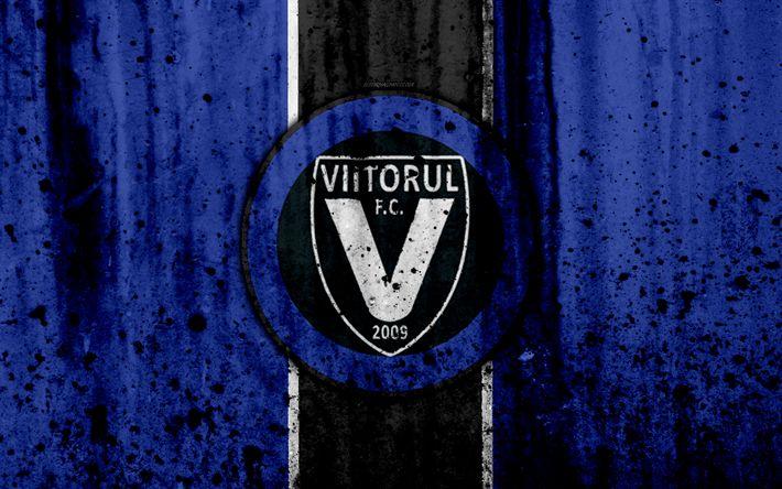 Download wallpapers 4k, FC Viitorul, grunge, Romanian league, Liga I, soccer, football club, Romania, Viitorul, logo, stone texture, Viitorul FC