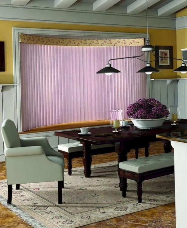Elegant Office Interior Design with Blinds Ideas: Beautiful Purple Office Blinds Design With Dark Wooden Table On Beige Floral Rug As Well Chandelier Ideas Including Yellow Painting Wall Decor ~ justsoakit.com Home office Inspiration