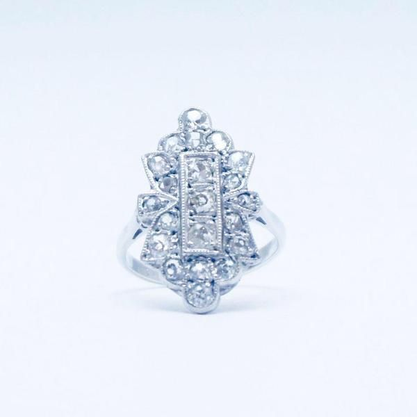 Art Deco Millegrain Set Diamond Panel Ring