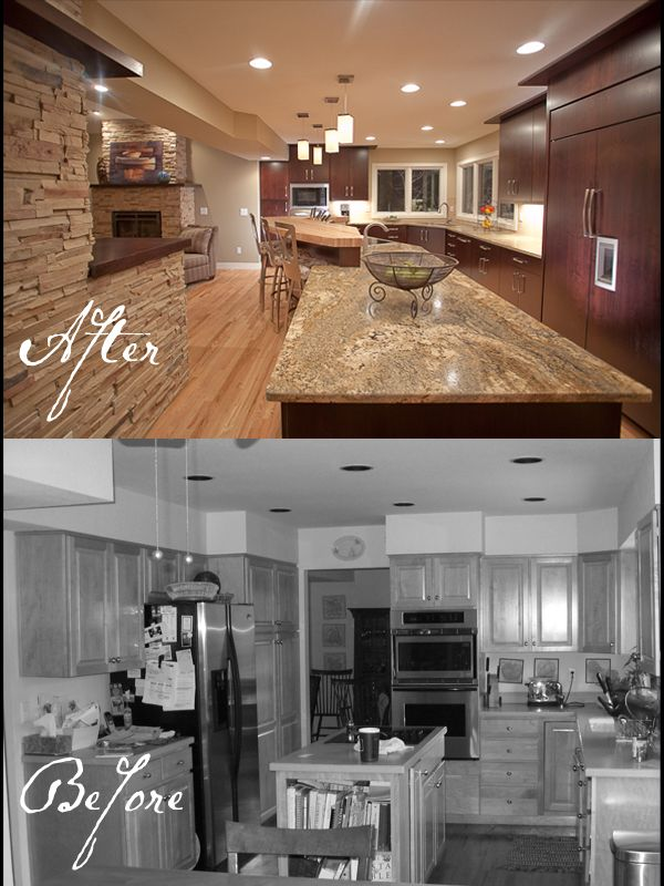 Kitchen remodels before and after oak before and - Living room renovation before and after ...