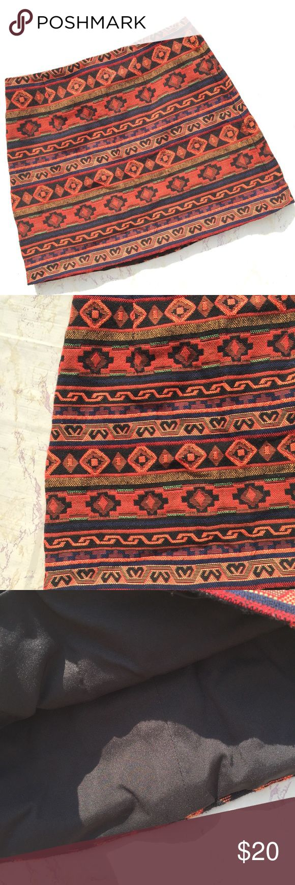 {Forever 21} Aztec Print Fall Mini Skirt Pretty Forever 21 fall tribal Aztec orange, black, and red mini skirt in excellent condition! Size Small. 14.5 inches. Forever 21 Skirts Mini