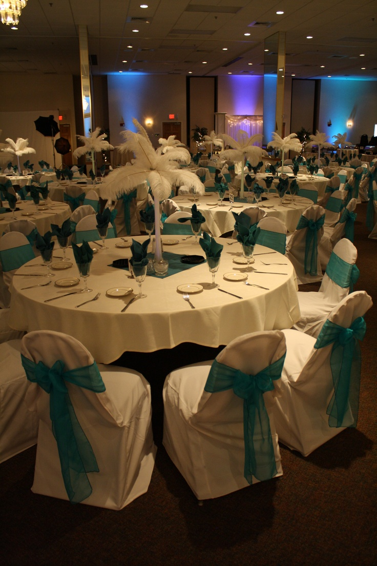 Elegant Purple And Blue With Feather Centerpieces Sweet