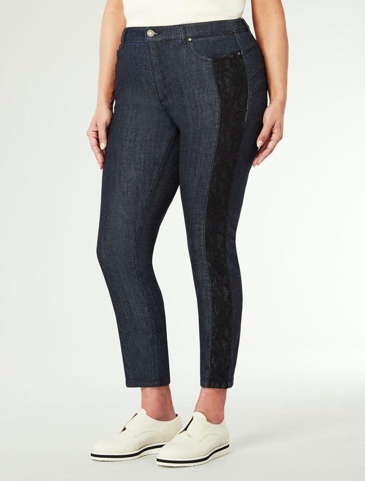 3b Marina Rinaldi ILIADE blu marino: Morbidi jeans in pizzo e denim.