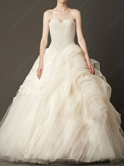 Ball Gown Strapless Tulle Floor-length Tiered Wedding Dresses -USD$737.70