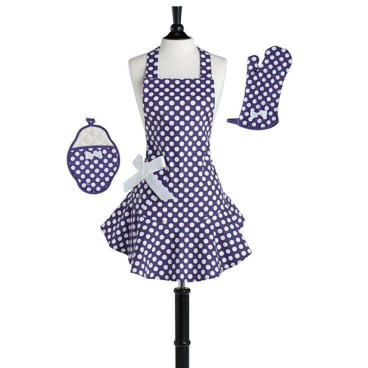 """Jessie Steele Purple & White Polka Dot Apron Set"": White Polka, Jessie Steele, Cute Aprons, Polka Dots S, Steele Purple, Aprons Sets, Steel Purple, Dots Aprons, Ovens Mitts"