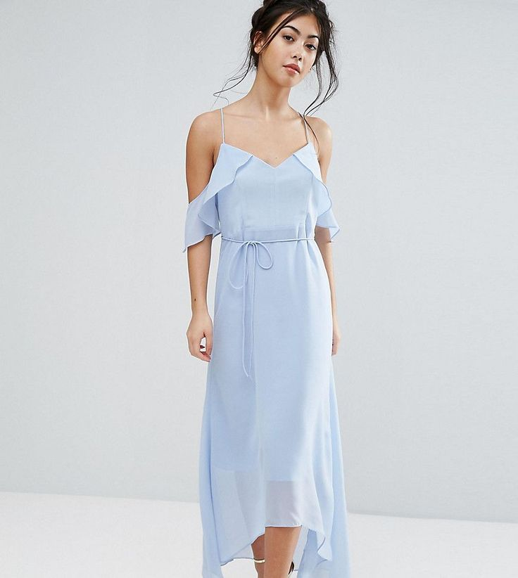 True Decadence Petite Frill Cold Shoulder Cami Maxi Dress With Ruffle