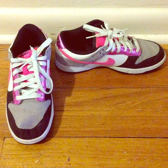 Nike  sb dunks! Last chance Metallic pink, black and hot pink nike sb dunks. Gently worn Nike Shoes