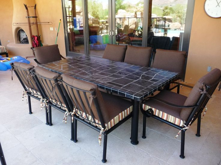Black Slate Outdoor Dining Table Chairs