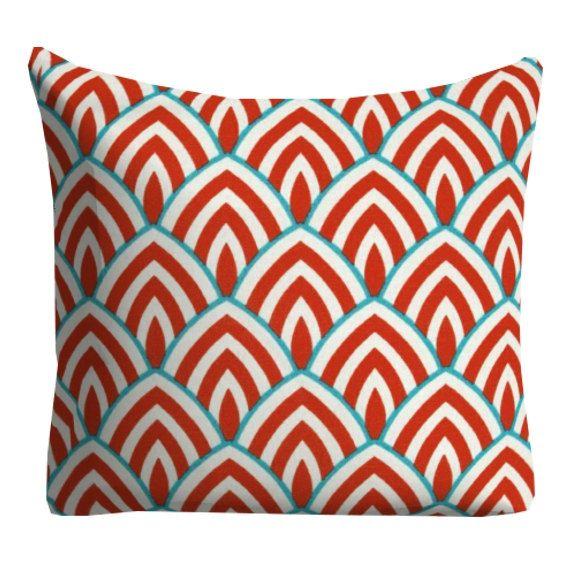 Red Aqua Outdoor Pillows Red Trellis Outdoor 20 By FineFreshDesign