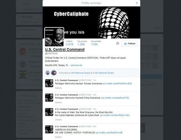 A computer screenshot shows the U.S. Central Command Twitter feed after it was apparently hacked by people claiming to be Islamic State sympathizers January 12, 2015.   REUTERS