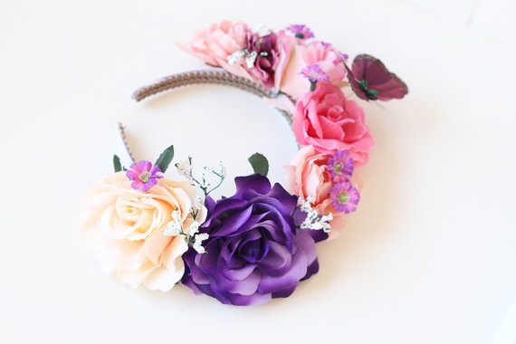 purple pink rose butterfly floral headband // by kisforkani