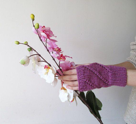Hand Knit Fingerless Gloves in Dark Lilac  Arm Warmers