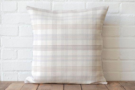Cream Tartan and Grey Suede Pillow