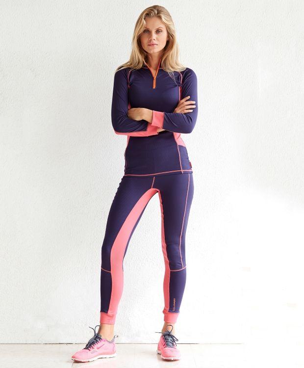 Redhill superundertøy dame Coolmax superundertøy til dame. Funksjonell kvalitet som egner seg godt til trening og fritid. genser med turtleneck og glidelås i front. Kontrast fargede detaljer. Bukse med elastikk i midjen og smal avslutning i beina. Vask 40ºC.
