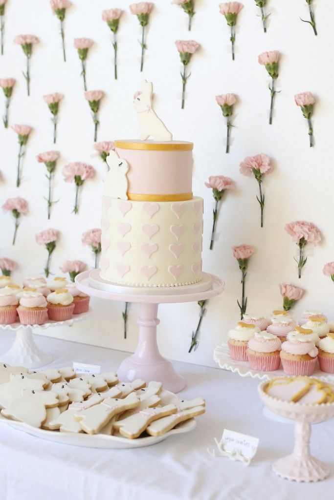 Pink Bunny Baby Shower - adorable cake and cookies