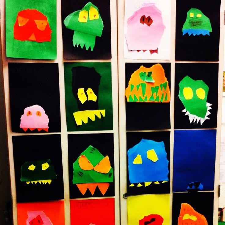 Monsterbilder laget etter inspirasjon fra en bok elevene hadde lest.  Bok: Redd av Vegard Markhus