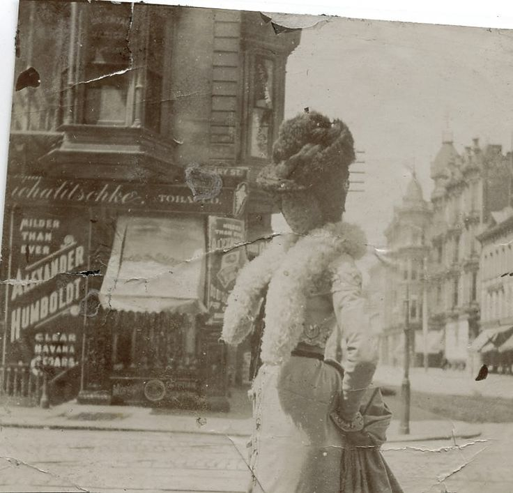 Shorpy Historical Photo Archive :: Before the Earthquake Taken of my grandmother in San Francisco at the corner of Grant Ave. and Geary St. in 1900