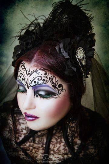 Photo and make up by Mad dame  #gothic #pale #goth #gothgirl #gothicgirl #dark #fantasty #makeup #creative #sword #purplelipstick #flowers #cherryblossoms #jocelynlothian #jocelynlothianalternativemodel #maddame #neckcorset #redhair #directions #veil Find model on face book - Jocelyn lothian (alternative model)