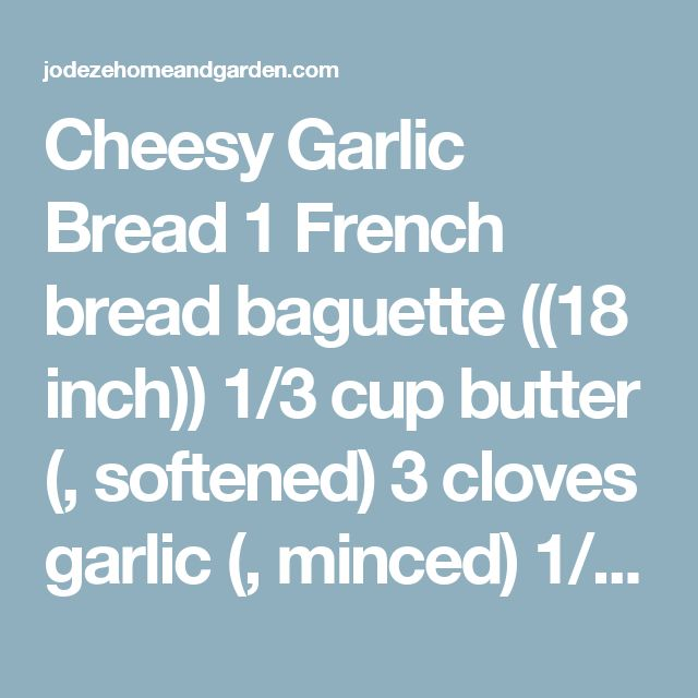Cheesy Garlic Bread 1 French bread baguette ((18 inch)) 1/3 cup butter (, softened) 3 cloves garlic (, minced) 1/4 tsp . dried oregano leaves 1/4 tsp . dried basil leaves 1/4 tsp . black pepper 6 oz . ((3/4 of 8-oz. pkg.) CRACKER BARREL Aged Reserve Extra Sharp Cheddar Cheese, cut into 24 slices) Heat oven to 400ºF. Use serrated knife to make 24 diagonal cuts in top of baguette, being careful to not cut through to bottom of baguette. Place, cut sides up, on baking sheet. Mix butter…