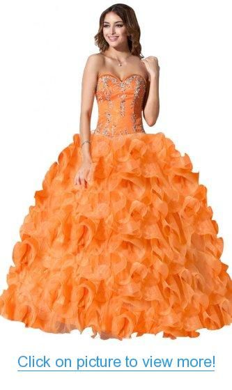 Sunvary New Orange Ball Gown Appliques Organza Quinceanera Dresses for Prom Long