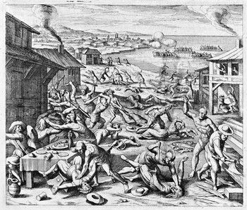 In the spring of 1622 the Indians attacked Jamestown, VA settlers for expanding their tobacco farms onto their hunting grounds. The fight cause 350 settlers and Rolfe to die, and burned buildings.