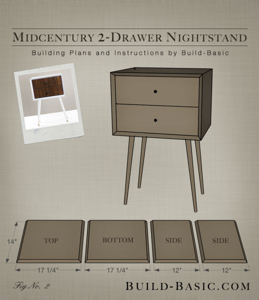 Build a DIY Midcentury 2 Drawer Nightstand - Building Plans by Build Basic www.build-basic.com