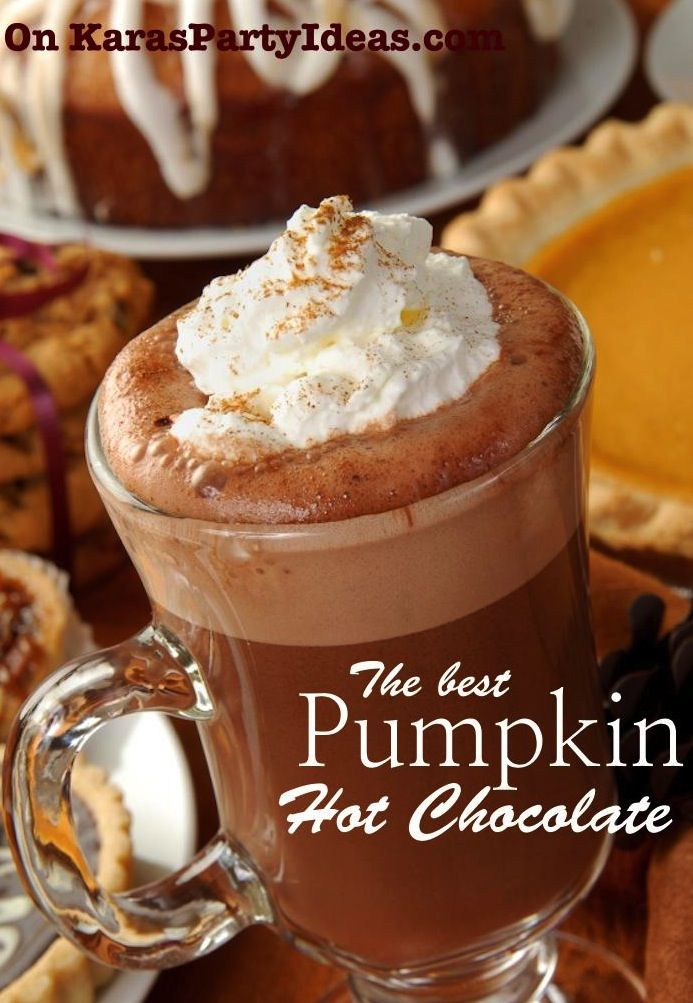 The best PUMPKIN HOT CHOCOLATE recipe via Kara's Party Ideas KarasPartyIdeas.com Perfect for fall!: Holiday Parties, Chocolates Chips, Warm Fall Drinks, Parties Drinks, Hot Chocolate Recipe, Pumpkin Hot Chocolates Recipe, Christmas Holiday, Pumpkin Hot Cocoa, Delicious Drinks