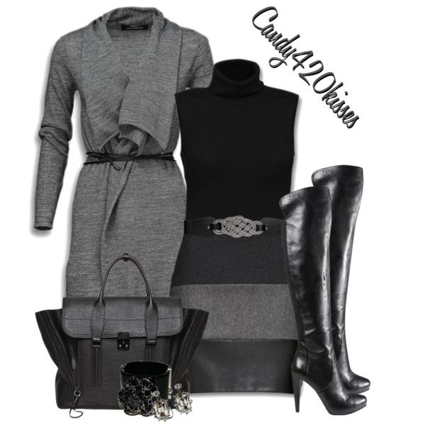Mexx cardigan, Rollneck sweater, Knee Length Skirt*Nine West Chris Cross Boot in Black, Rope Twist Front Stretch Belt