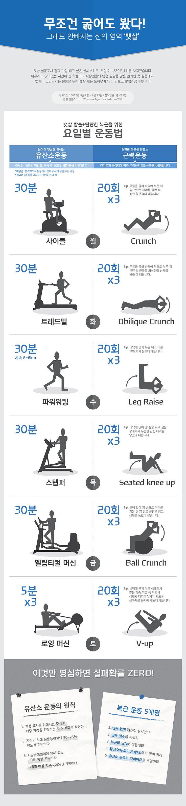 [인포그래픽] 굶기까지 해봤지만 절대 안빠지는 곳, 뱃살 요일별 운동법!