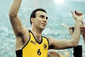 Nikos Galis, 1957- , born in New Jersey, USA, is a retired #Greek professional basketball player. He was named one of FIBA's 50 Greatest Players and one of the 50 Greatest Euroleague Contributors. Galis led the Greek national team to a EuroBasket gold medal in 1987, as well as to a EuroBasket silver medal in 1989, and earned the tournament MVP honor in 1987. He also won the Mr. Europa Player of the Year and the Euroscar awards in 1987.