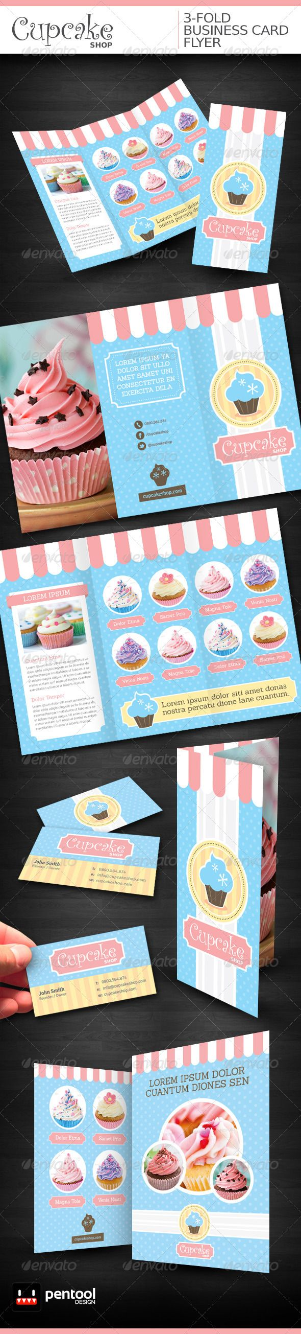 Cupcake Shop 3-Fold/Business Card/Flyer  #GraphicRiver         FEATURES -3-Fold A4 Format -Business Card 3.5×2 in -Flyer 5.8×8.3 in -CMYK