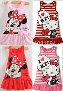 New 2014 Kids girls clothes cute Mickey Mouse Minnie Dress, 2 colors of red and pink mini Clothes, baby girls clothing dress US $2.63 - 3.66