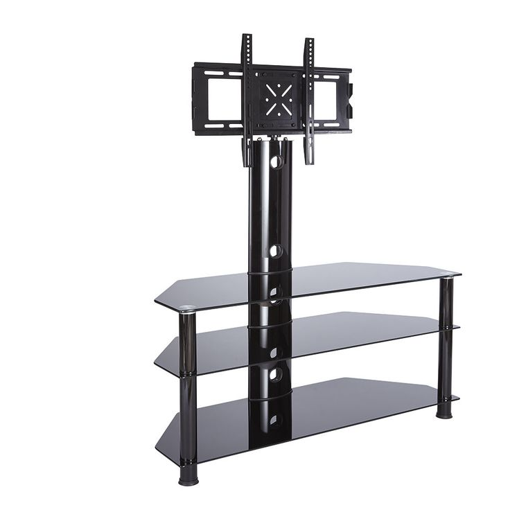 "Cantilever Black Glass tv stand flat pack 1100 x 425 x 1000mm up to 55"" screens 