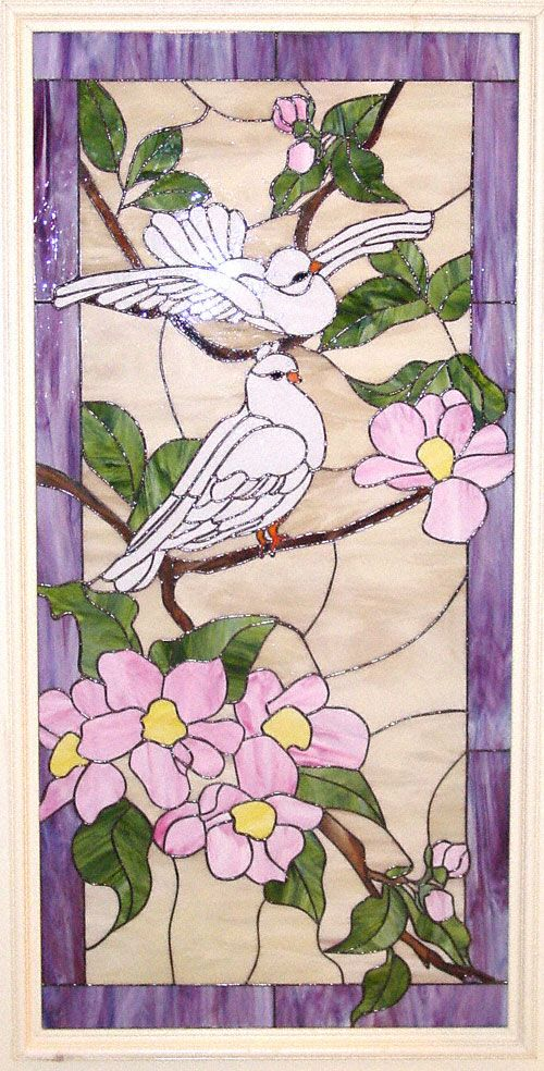 Stained Glass - Doves in The Garden of Peace - Design ©2006 Katherine Bell