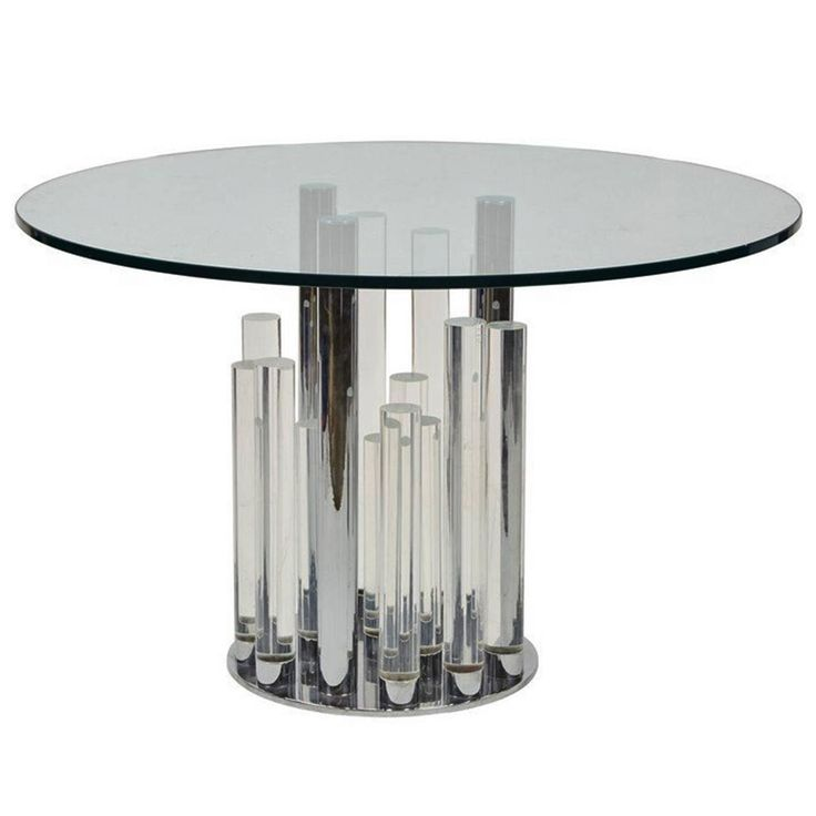 Skyscraper Dining/Center Table in Lucite and Chrome by Charles Hollis Jones   See more antique and modern Dining Room Tables at https://www.1stdibs.com/furniture/tables/dining-room-tables