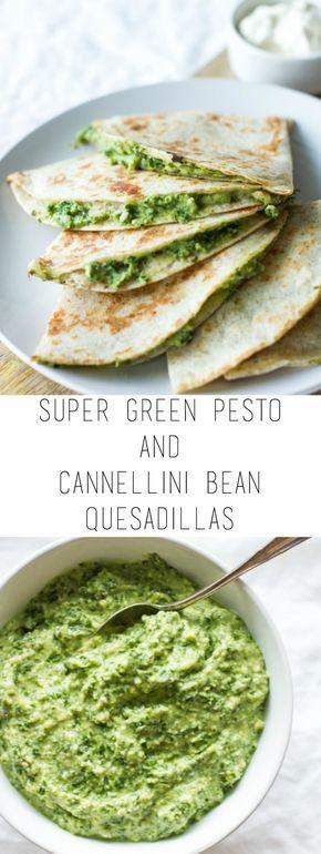 Super green pesto and cannellini bean quesadillas