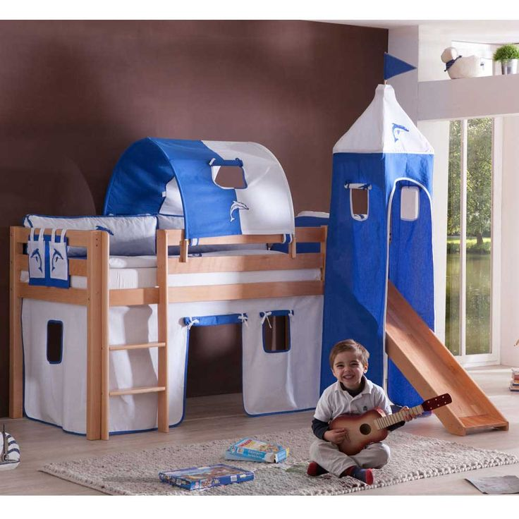burgbett mit blau weien textilien rutsche jetzt bestellen unter - Hausgemachte Etagenbetten Mit Rutsche