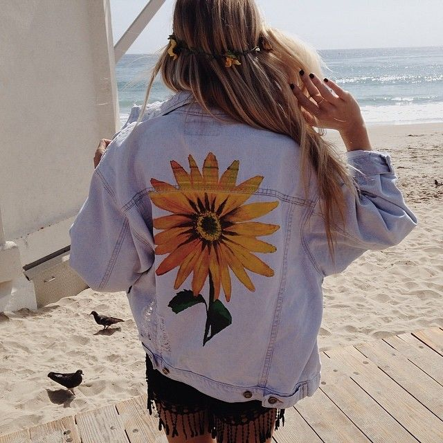DIY - Paint something beautiful on the back of an old denim jacket to give it a new lease of life x