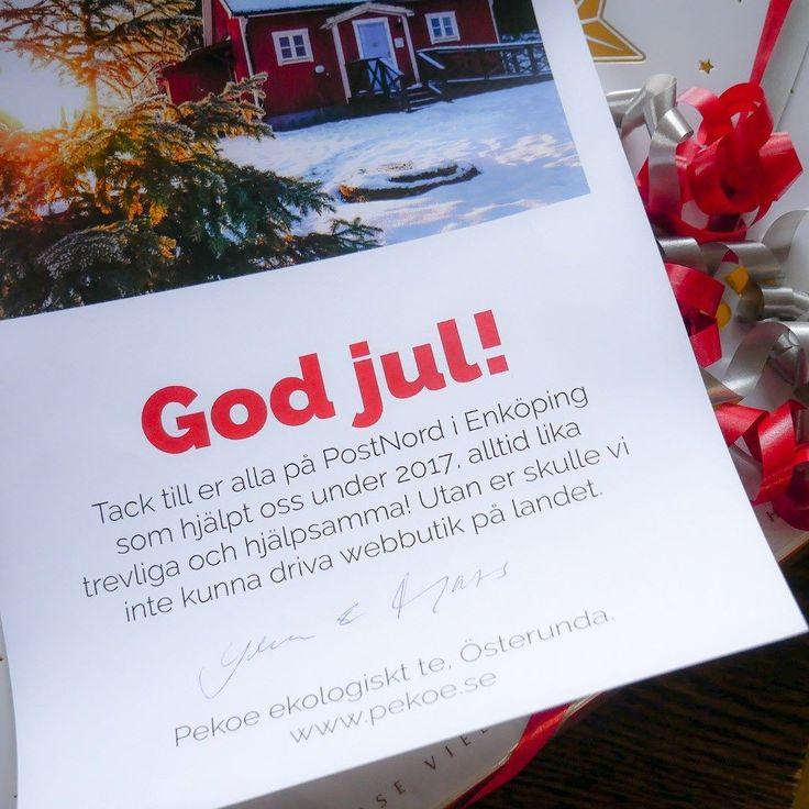 GOD JUL BREVBÄRAR'N! Varje dag lämnar vi Varubrev till våra alltid lika underbara lantbrevbärare. Nästan jämt är de framme hos dig dagen efter.  Därför blev det en julklapp till brevbärarna på i Enköping. God jul!  #ehandel #postnord #julklapp #pekoe #ekologisktte