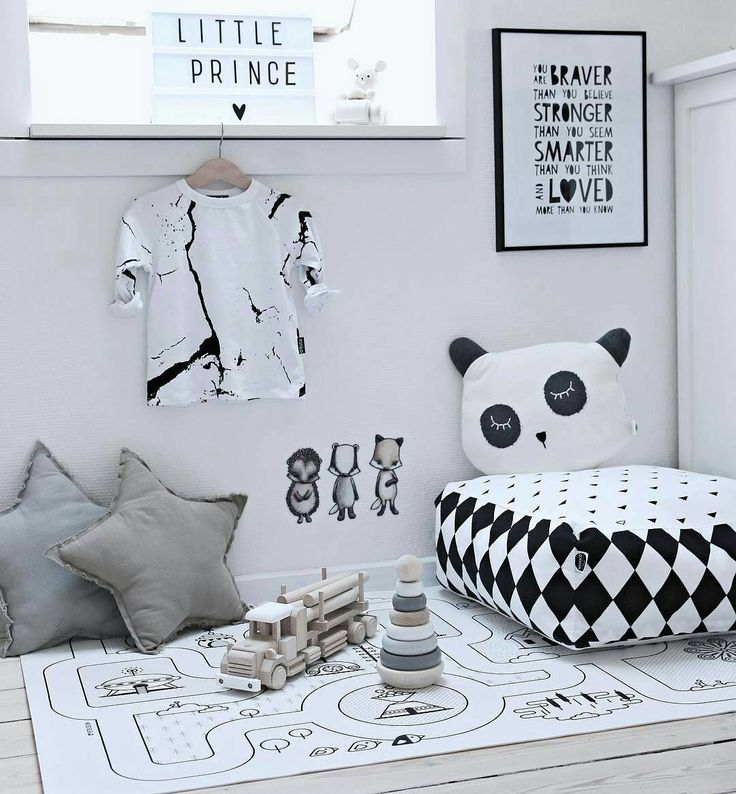 Monochrome kid's pouf. Perfect place for play and rest.