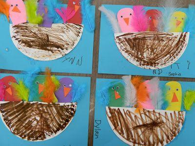 Paper plate nests & paper sack bird's nests with Pom Pom birds