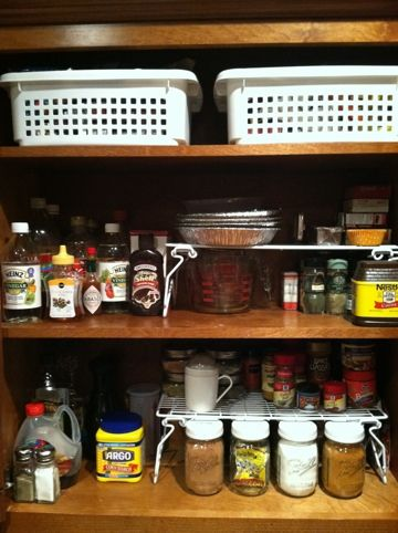 How To Organize Your Spice Cabinet - Bins!!!  I knew I was missing something obvious for that hard to reach top shelf!