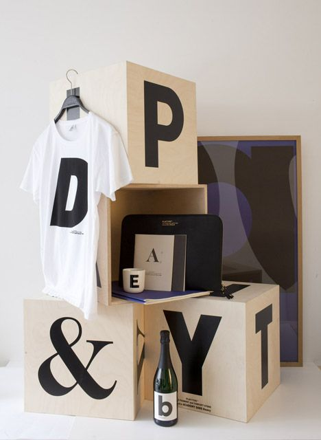 Danish typeface designers e-Types have opened a shop for their type foundry in Copenhagen, Denmark, where customers can buy digital fonts in a physical space. The shop also stocks posters, t-shirts and home ware decorated with letters designed by e-Types and their colleagues.