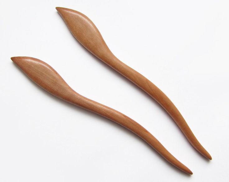 Hair Pins – 2x Wooden Hair Pin from the Apple wood – a unique product by forevahairforks on DaWanda